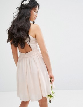 photo High Embellished Mini Dress with Full Skirt by TFNC Petite Wedding, color Nude - Image 2