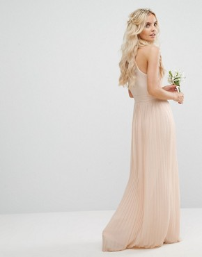 photo Pleated Maxi Dress by TFNC Petite Wedding, color Nude - Image 2