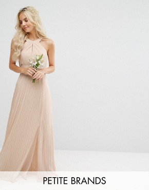 photo Pleated Maxi Dress by TFNC Petite Wedding, color Nude - Image 1