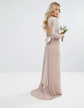 photo Lace Maxi Dress with Bow Back by TFNC Petite Wedding, color Mink - Image 2