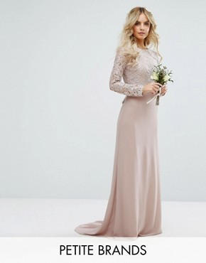 photo Lace Maxi Dress with Bow Back by TFNC Petite Wedding, color Mink - Image 1