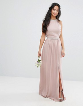 photo Embellished Maxi Dress with Jewel Strappy Back by TFNC Petite Wedding, color Mauve - Image 2