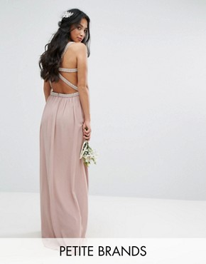 photo Embellished Maxi Dress with Jewel Strappy Back by TFNC Petite Wedding, color Mauve - Image 1