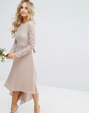 photo Lace Midi Dress with Bow Back by TFNC Petite Wedding, color Mink - Image 2