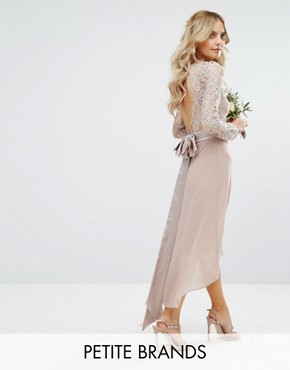 photo Lace Midi Dress with Bow Back by TFNC Petite Wedding, color Mink - Image 1