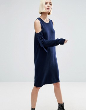 photo Knitted Dress with Tie Cold Shoulder by ASOS, color Navy - Image 1