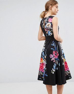 photo Floral Embroidered Midi Skater Dress by Oasis, color Black - Image 2