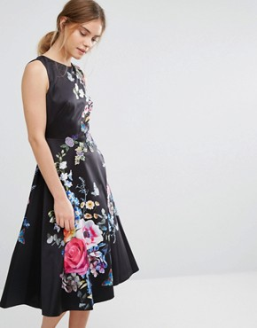 photo Floral Embroidered Midi Skater Dress by Oasis, color Black - Image 1