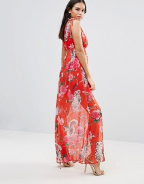 photo Floral V Front & Back Maxi Dress by Traffic People, color Red - Image 2
