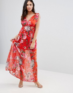 photo Floral V Front & Back Maxi Dress by Traffic People, color Red - Image 1