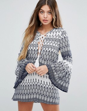 photo Aztec Dress with Bell Sleeves by Unique 21, color Blue Aztec - Image 1