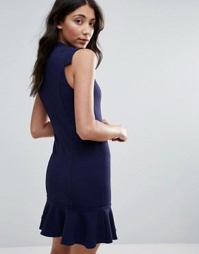 photo Midi Peplum Dress with V Neck by Unique 21, color Navy - Image 2