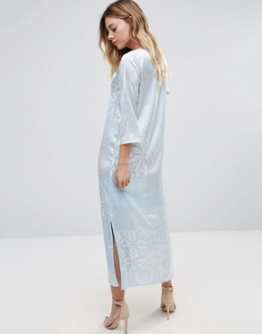 photo 3/4 Sleeve Printed Maxi Dress by Traffic People, color White/Blue - Image 2