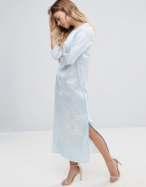 photo 3/4 Sleeve Printed Maxi Dress by Traffic People, color White/Blue - Image 1