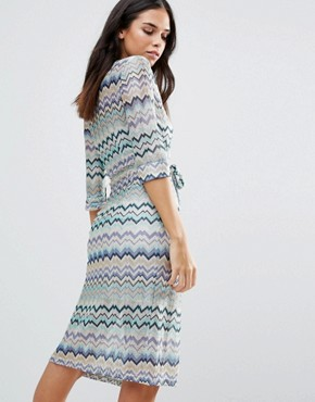 photo Striped 3/4 Sleeve Dress by Traffic People, color Blue - Image 2