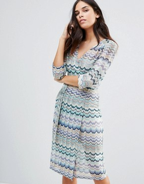 photo Striped 3/4 Sleeve Dress by Traffic People, color Blue - Image 1