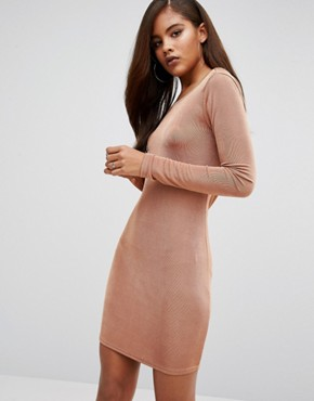 photo Cowl Back Bodycon Dress by Missguided Tall, color Copper - Image 2