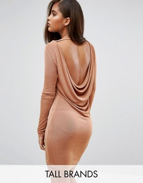 photo Cowl Back Bodycon Dress by Missguided Tall, color Copper - Image 1