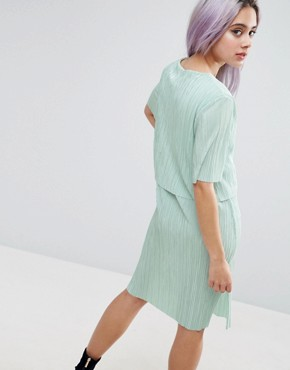 photo Double Layer T-Shirt Dress In Plisse by ASOS, color Mint - Image 2