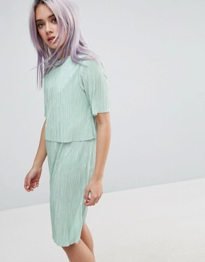photo Double Layer T-Shirt Dress In Plisse by ASOS, color Mint - Image 1