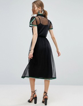 photo Spot Mesh Embroidered Dress with Sequin Trim by ASOS PREMIUM, color Black - Image 2