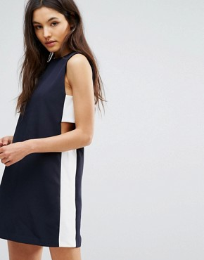 photo Tunic Dress with Side Tab by Hedonia, color Navy/Ivory - Image 1