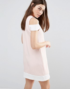 photo Cut Out Shoulder Shift Dress by Hedonia, color Nude/Cream - Image 2