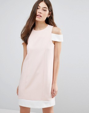 photo Cut Out Shoulder Shift Dress by Hedonia, color Nude/Cream - Image 1