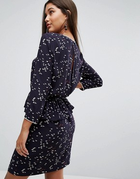 photo Ditsy Bird Print Dress by Y.A.S, color Navy - Image 2