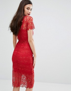 photo Lace Bodycon Dress with Floral Applique by Body Frock, color Red - Image 2