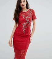 photo Lace Bodycon Dress with Floral Applique by Body Frock, color Red - Image 1