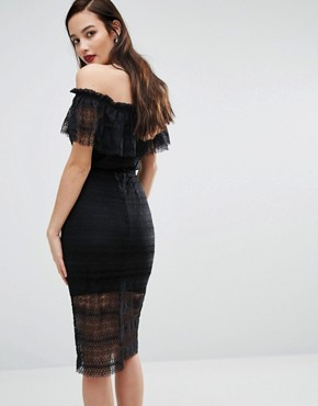 photo Off Shoulder Midi Lace Dress with Belt by Body Frock, color Black - Image 2