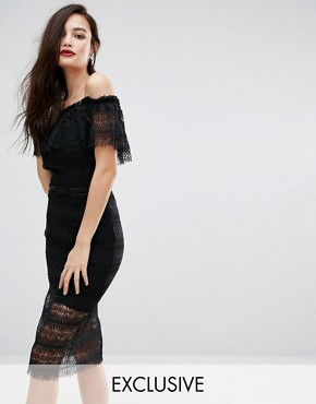 photo Off Shoulder Midi Lace Dress with Belt by Body Frock, color Black - Image 1