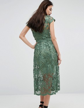 photo Lace Midi Skater Dress with Cap Sleeve by Body Frock, color Green - Image 2