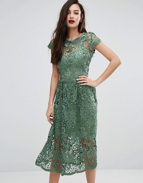 photo Lace Midi Skater Dress with Cap Sleeve by Body Frock, color Green - Image 1