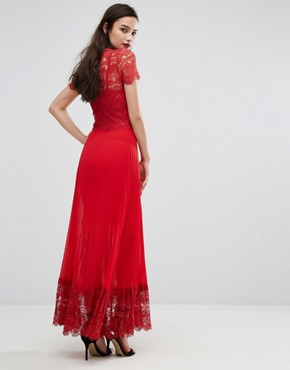 photo Pleated Midi Dress with Lace Bodice by Body Frock, color Red - Image 2