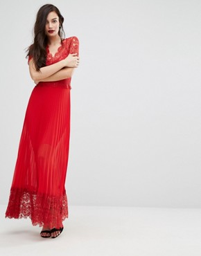 photo Pleated Midi Dress with Lace Bodice by Body Frock, color Red - Image 1