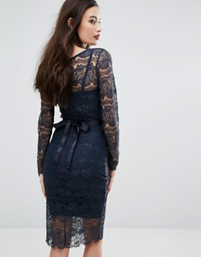 photo Long Sleeved Lace Bodycon Dress with Sash Belt by Body Frock, color Navy - Image 2