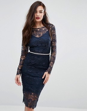 photo Long Sleeved Lace Bodycon Dress with Sash Belt by Body Frock, color Navy - Image 1