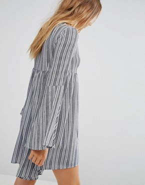 photo Bell Sleeve Striped Dress by Unique 21, color Blue/White - Image 2