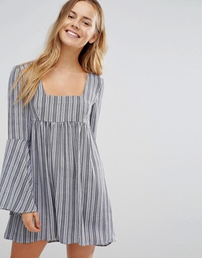 photo Bell Sleeve Striped Dress by Unique 21, color Blue/White - Image 1