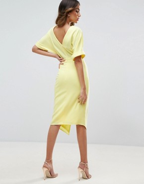 photo Wiggle Dress with Split Front by ASOS, color Soft Yellow - Image 2