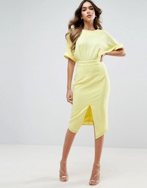 photo Wiggle Dress with Split Front by ASOS, color Soft Yellow - Image 1