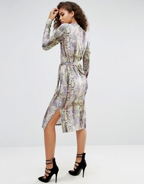 photo Snakeskin Print Wrap Detail Shift Dress by ASOS TALL, color  - Image 2