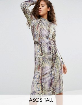 photo Snakeskin Print Wrap Detail Shift Dress by ASOS TALL, color  - Image 1
