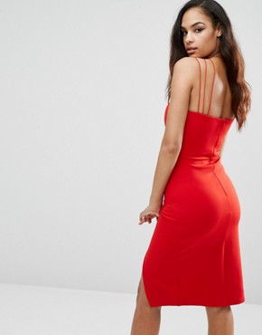 photo Plunge Pencil Dress with Strap Detail by Rare London, color Red - Image 2