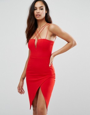 photo Plunge Pencil Dress with Strap Detail by Rare London, color Red - Image 1