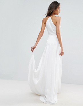 photo Panelled Bodice Plunge Maxi Dress by ASOS BRIDAL, color Cream - Image 2