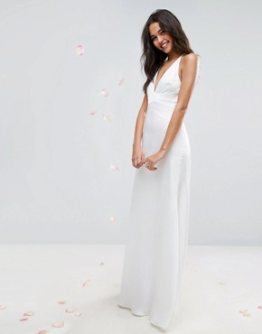 photo Panelled Bodice Plunge Maxi Dress by ASOS BRIDAL, color Cream - Image 1