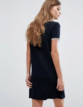photo Zip Neck Pique Dress by Fred Perry, color Navy - Image 2